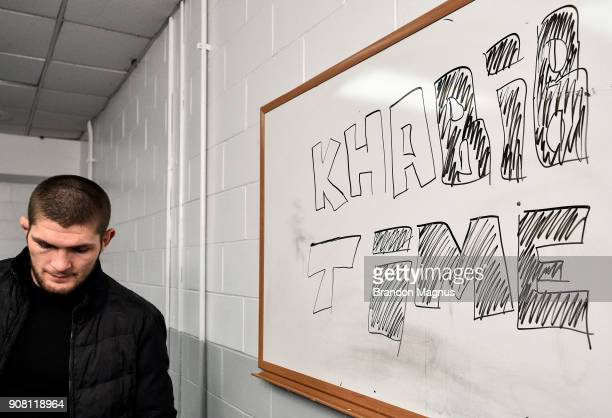 Khabib Nurmagomedov of Russia waits backstage during the UFC 220 event at TD Garden on January 20 2018 in Boston Massachusetts