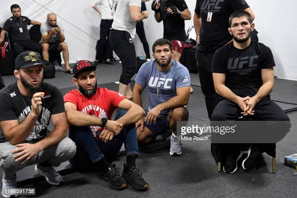 Khabib Nurmagomedov of Russia waits backstage with his team during UFC 242 at The Arena on September 7 2019 in Yas Island Abu Dhabi United Arab...