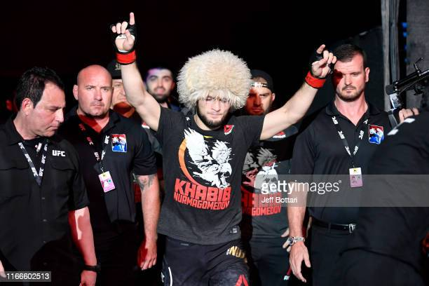 Khabib Nurmagomedov of Russia walks to the Octagon prior to his lightweight championship bout against Dustin Poirier during UFC 242 at The Arena on...