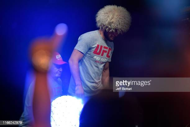 Khabib Nurmagomedov of Russia walks to the scale during the UFC 242 weighin at The Arena on September 6 2019 in Abu Dhabi United Arab Emirates