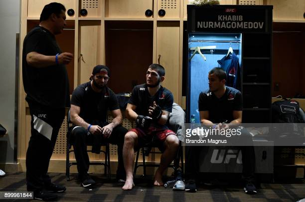 Khabib Nurmagomedov of Russia warms up prior to his lightweight bout against Edson Barboza during the UFC 219 event inside TMobile Arena on December...