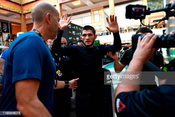 Khabib Nurmagomedov of Russia waves to fans at Yas Mall on September 4 2019 in Abu Dhabi United Arab Emirates