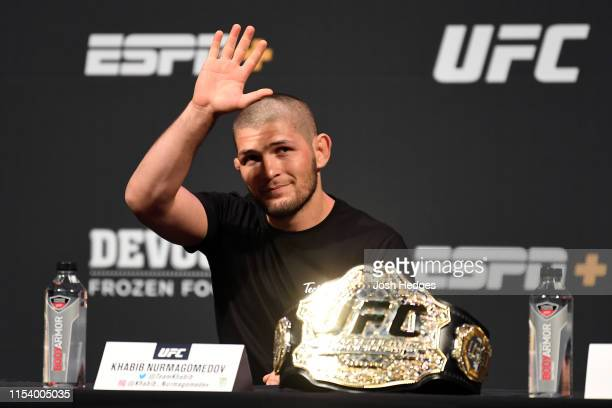 Khabib Nurmagomedov of Russia waves to the crowd during the UFC seasonal press conference at TMobile Arena on July 5 2019 in Las Vegas Nevada