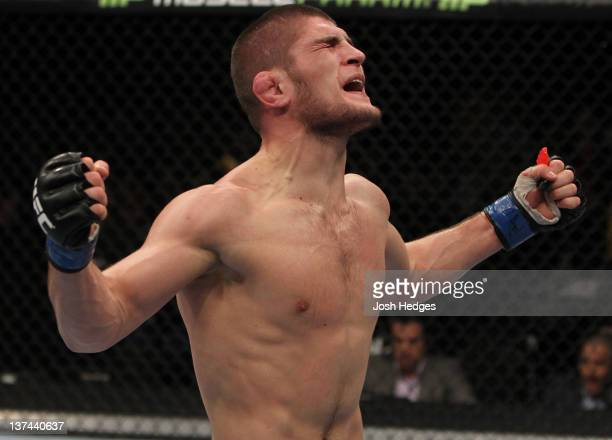 Khabib Nurmagomedov reacts after defeating Kamal Shalorus during the UFC on FX event at Bridgestone Arena on January 20 2012 in Nashville Tennessee