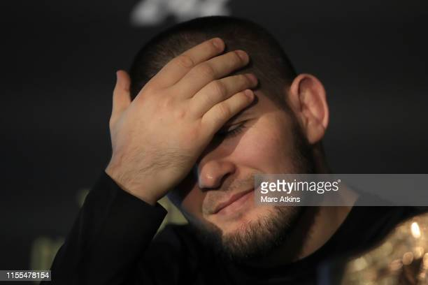 Khabib Nurmagomedov reacts during a UFC 242 Press Conference at Hotel Cafe Royal on June 12 2019 in London England