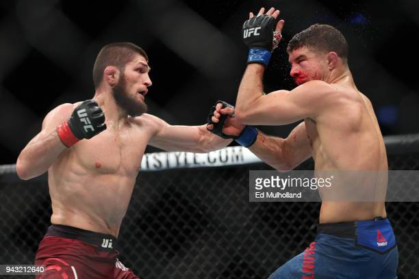 Khabib Nurmagomedov throws a left hand to the head of Al Iaquinta during their UFC lightweight championship bout at UFC 223 at Barclays Center on...