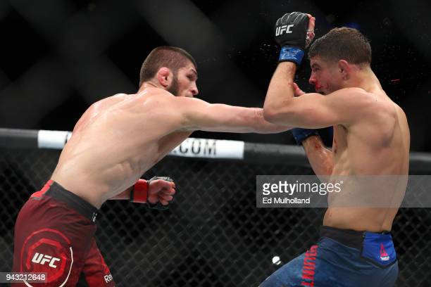 Khabib Nurmagomedov throws a right hand to the head of Al Iaquinta during their UFC lightweight championship bout at UFC 223 at Barclays Center on...