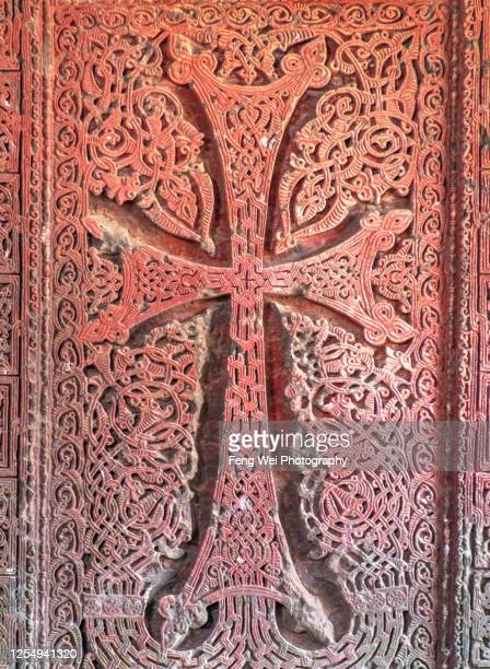 khachkar (armenian cross-stone), hovhannavank monastery, ohanavan, aragatsotn province, armenia - アルメニア共和国 ストックフォトと画像