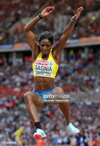 Khaddi Sagina of Sweden competes in the Women's Long Jump Final during day five of the 24th European Athletics Championships at Olympiastadion on...
