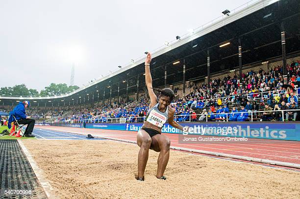 Khaddi Sagnia competes Long jump women during the IAAF Diamond League meeting on Stockholm stadion on June 16, 2016 in Stockholm, Sweden.