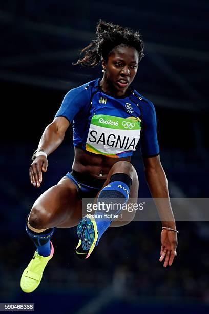 Khaddi Sagnia of Sweden competes during the Women's Long Jump Qualifying Round on Day 11 of the Rio 2016 Olympic Games at the Olympic Stadium on...