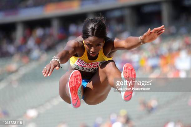 Khaddi Sagnia of Sweden competes in the Women's Long Jump Qualification during day three of the 24th European Athletics Championships at...