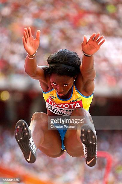 Khaddi Sagnia of Sweden competes in the Women's Long Jump qualification during day six of the 15th IAAF World Athletics Championships Beijing 2015 at...