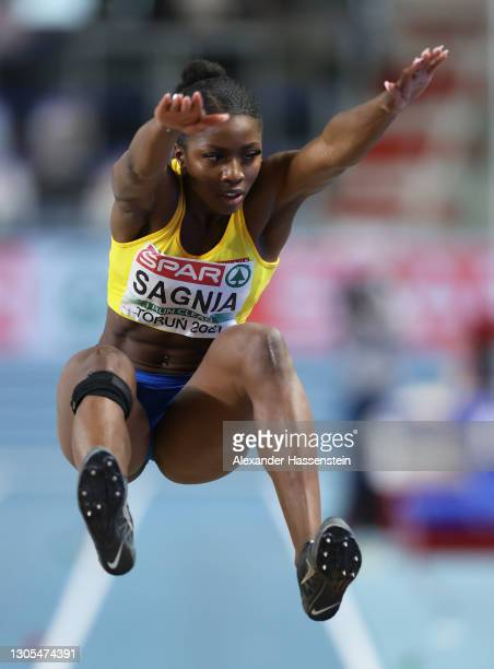 Khaddi Sagnia of Sweden competes in the Women's Long Jump during the first session on Day 1 of European Athletics Indoor Championships at Arena Torun...