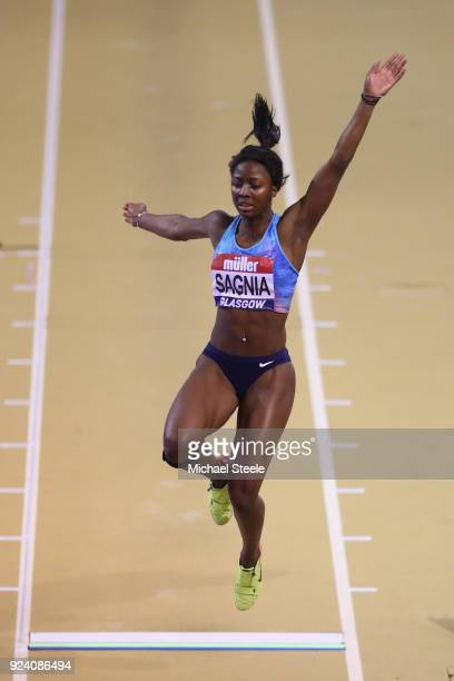 Khaddi Sagnia of Sweden competes in the women's long jump during the Muller Indoor Grand Prix at Emirates Arena on February 25 2018 in Glasgow...