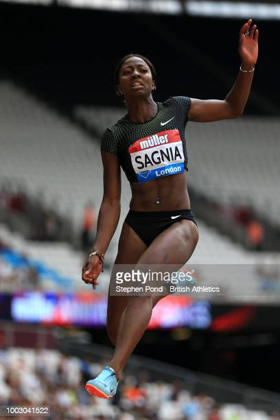 Khaddi Sagnia of Sweden competes in the Women's Long Jump event during Day One of the Muller Anniversary Games at London Stadium on July 21 2018 in...