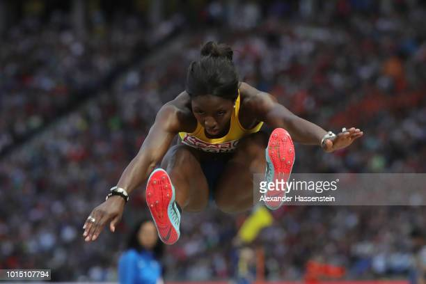 Khaddi Sagnia of Sweden competes in the Women's Long Jump Final during day five of the 24th European Athletics Championships at Olympiastadion on...