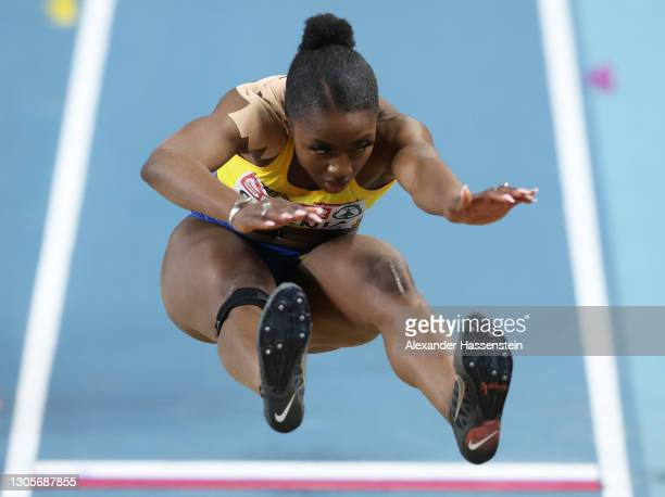 Khaddi Sagnia of Sweden competes in the Women's Long Jump final during the second session on Day 2 of European Athletics Indoor Championships at...