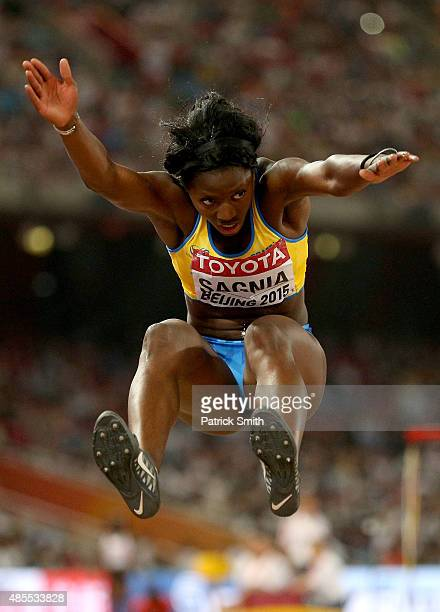 Khaddi Sagnia of Sweden competes in the Women's Long Jump final during day seven of the 15th IAAF World Athletics Championships Beijing 2015 at...