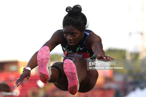 Khaddi Sagnia of Sweden in action during the final of the women's long jump during the Muller British Grand Prix, part of the Wanda Diamond League at...