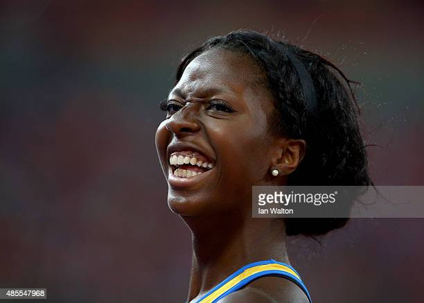 Khaddi Sagnia of Sweden looks on while competing in the Women's Long Jump final during day seven of the 15th IAAF World Athletics Championships...