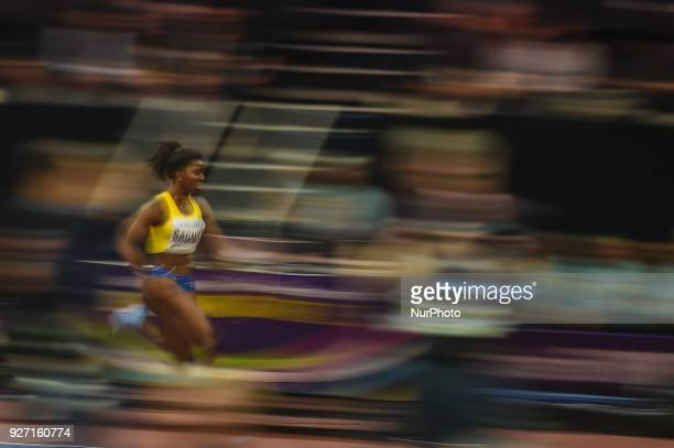 Khaddi Sagnia of Sweden at long jump at World indoor Athletics Championship 2018 Birmingham England on March 4 2018