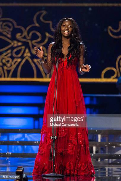 Khaddi Sagnia wins Newcomer of the Year at the Swedish Sports Gala at the Ericsson Globe on January 25, 2016 in Stockholm, Sweden.