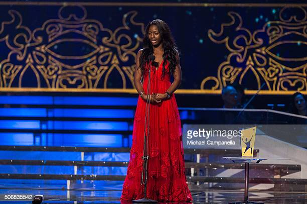 Khaddi Sagnia wins Newcomer of the Year at the Swedish Sports Gala at the Ericsson Globe on January 25 2016 in Stockholm Sweden