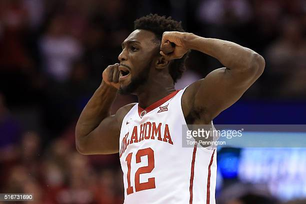 Khadeem Lattin of the Oklahoma Sooners celebrates in the first half against the Virginia Commonwealth Rams during the second round of the 2016 NCAA...