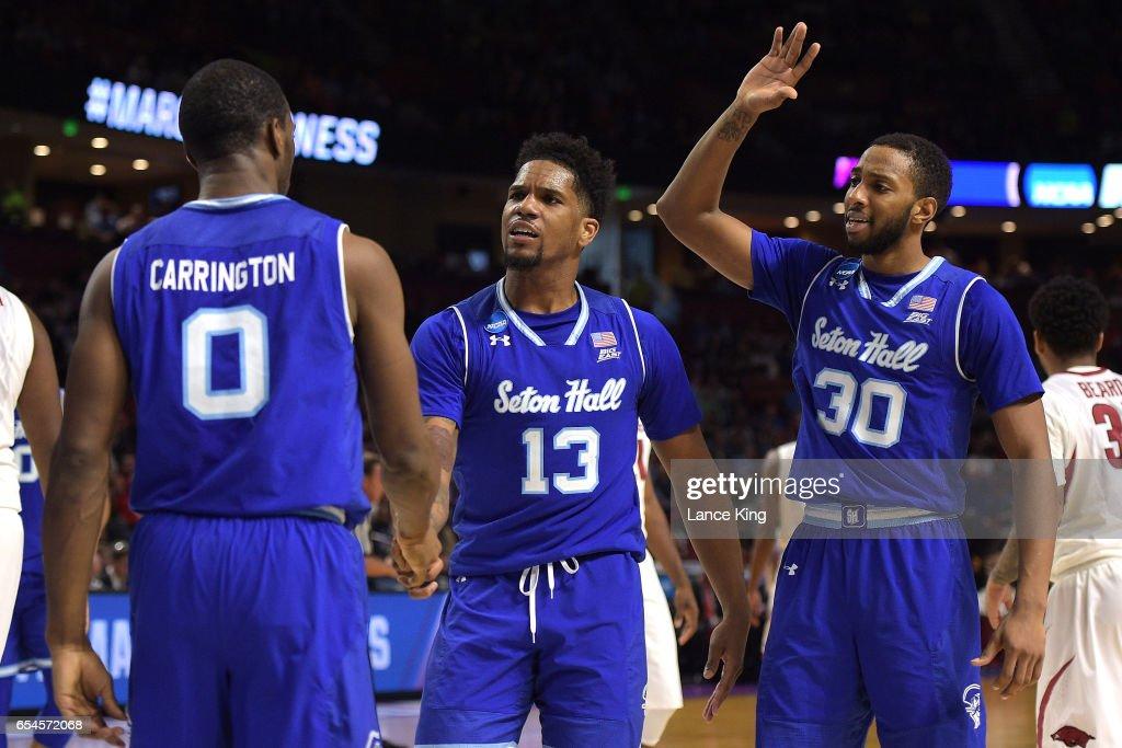 NCAA Basketball Tournament - First Round - Greenville - Seton Hall v Arkansas : News Photo