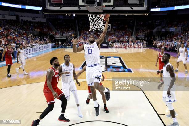 Khadeen Carrington of the Seton Hall Pirates attempts a shot in the second half against the North Carolina State Wolfpack during the first round of...
