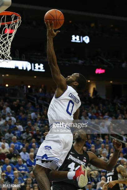 Khadeen Carrington of the Seton Hall Pirates in action against Isaiah Jackson of the Providence Friars the Providence Friars during a game at...