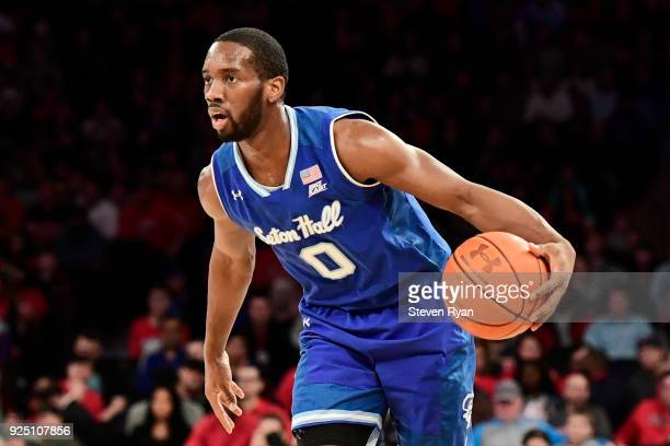 Khadeen Carrington of the Seton Hall Pirates in action against the St John's Red Storm during an NCAA basketball game at Madison Square Garden on...