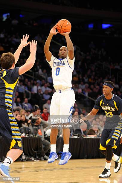 Khadeen Carrington of the Seton Hall Pirates takes a jump shot during a first round game of the Big East basketball tournament against the Marquette...