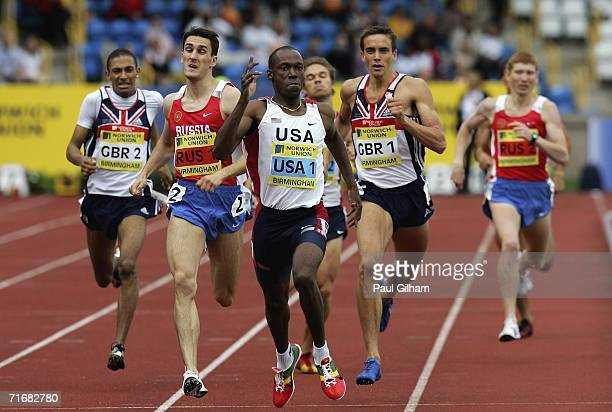 Khadevis Robinson of Unites States wins the Men's 800 Metres Race followed by Dmitriy Bogdanov of Russia and Sam Ellis of Great Britain during the...