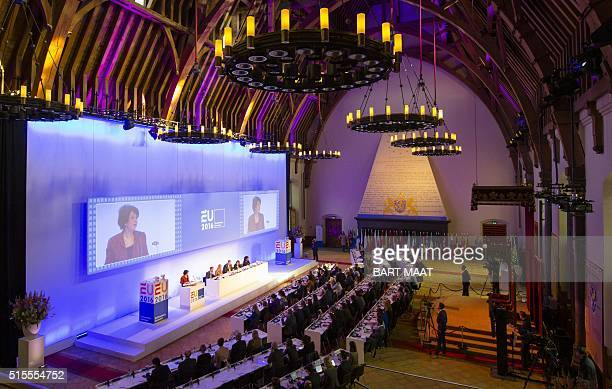 Khadija Arib chairwoman of the second chamber of the Dutch parliament delivers a speech during the opening of the interparliamentary conference on...