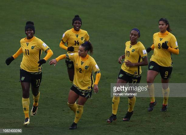 Khadija Shaw Lauren Silver Deneisha Blackwood Allyson Swaby and Marlo Sweatman of Jamaica celebrate a goal against Panama during the CONCACAF Women's...