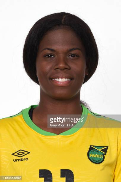 Khadija Shaw of Jamaica poses for a portrait during the official FIFA Women's World Cup 2019 portrait session at Hotel Novotel Grenoble Centre on...