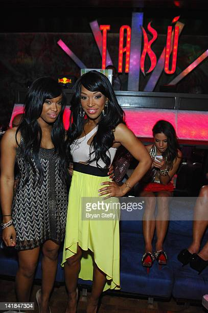 Khadijah Haqq and twin sister Tv personality Malika Haqq and celebrate their 29th birthday at the Tabu Ultra Lounge at the MGM Grand Hotel/Casino on...