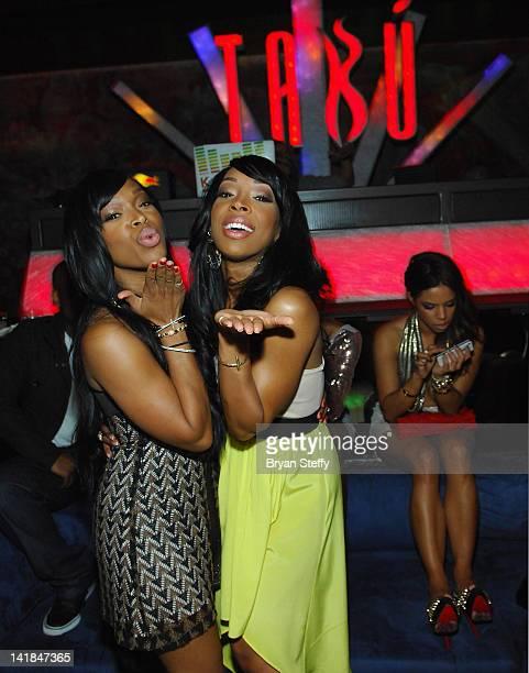 Khadijah Haqq and twin sister Tv personality Malika Haqq celebrate their 29th birthday at the Tabu Ultra Lounge at the MGM Grand Hotel/Casino on...
