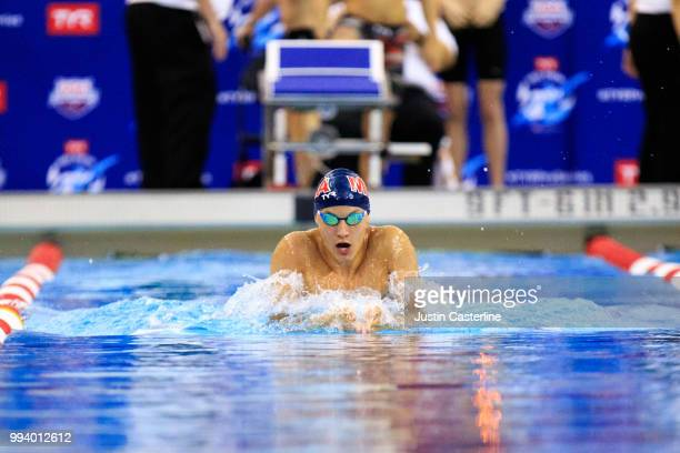 Khadin Soto competes in the men's 100m breaststroke prelims at the 2018 TYR Pro Series on July 8 2018 in Columbus Ohio