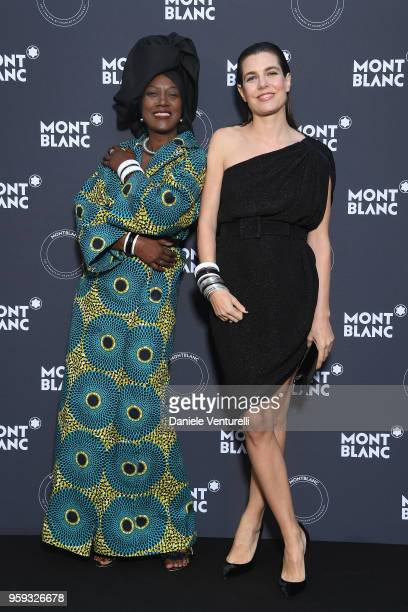 Khadja Nin and Charlotte Casiraghi attend the Montblanc dinner hosted by Charlotte Casiraghi for the collection launch 'Les Aimants at Villa La...
