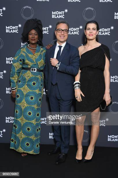 Khadja Nin CEO of Montblanc Nicolas Baretzki and Charlotte Casiraghi attend the Montblanc dinner hosted by Charlotte Casiraghi for the collection...