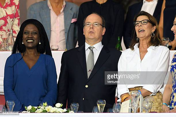 Khadja Nin Prince Albert II of Monaco and Princess Caroline of Hanoverattend Longines Global Champions Tour of Monaco on June 24 2016 in Monaco Monaco