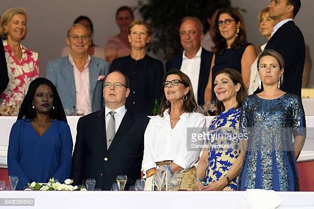 Khadja Nin Prince Albert II of Monaco and Princess Caroline of Hanoverattend Longines Global Champions Tour of Monaco on June 24 2016 in Monaco Monaco