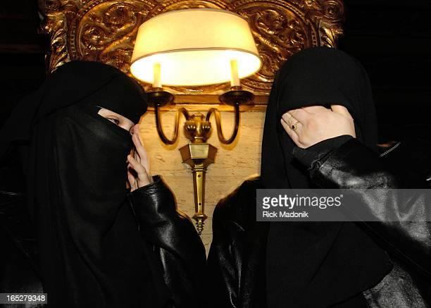 Khadr 03/07/07 TORONTO ONTARIO Zaynab Khadr and Maha Elsamnah sister of Omar Khadr the teen held at the US facility in Cuba for terror suspects The...