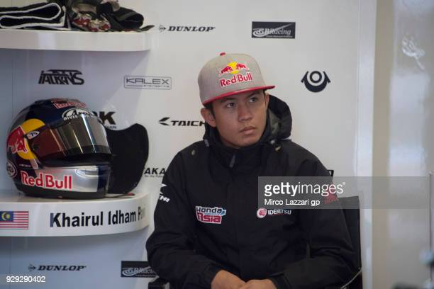 Khairul Idham Pawi of Malaysia and Idemitsu Honda Team Asia looks on box during the Moto2 Moto3 Tests In Jerez at Circuito de Jerez on March 8 2018...