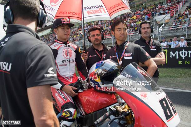 Khairul Idham Pawi of Malaysia and Idemitsu Honda Team Asia prepares to start on the grid during the Moto2 race during the MotoGp of Catalunya Race...