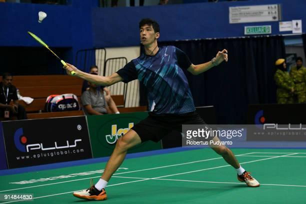Khaitmurat Kulmatov of Kazakhstan competes against Kento Momota of Japan during the EPlus Badminton Asia Team Championships 2018 at Sultan Abdul...