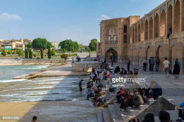 khaju bridge in isfahan, iran - isfahan province stock pictures, royalty-free photos & images